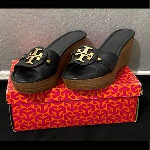 Tory Burch black mid wedge shoe